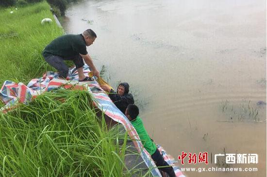 图为后勤员工在深水区域开展二期污水处理搭建防水墙。张文源 摄