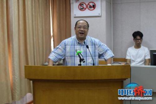 图为广西大学中加国际学院院长覃成强致辞。 林浩 摄