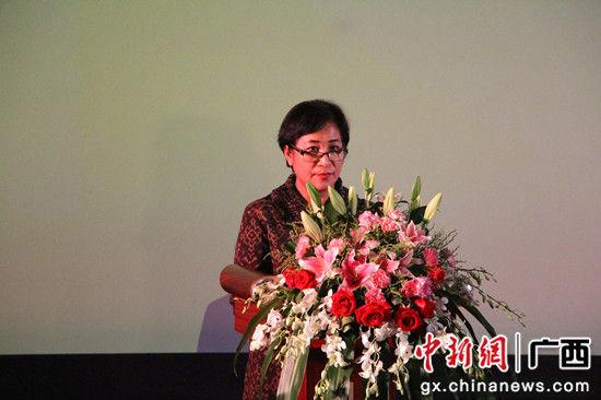 图为启动仪式现场,印尼驻广州领事发表致辞。