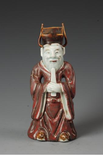 红釉老年文官俑(一级文物)