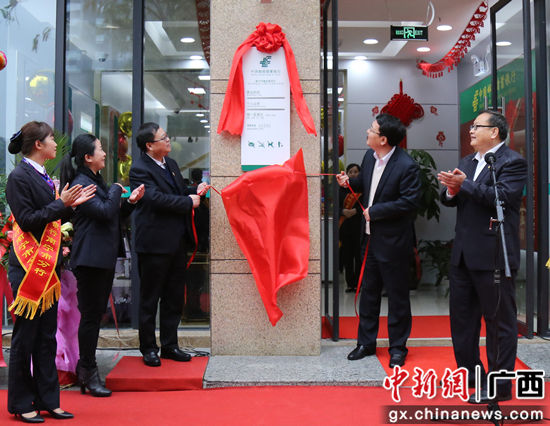 邮储银行广西区分行党委书记、行长史军保,纪委书记白庆元为鲁班路支行开业揭牌。