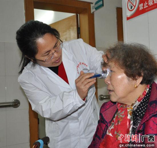 医生为老人检查眼压。