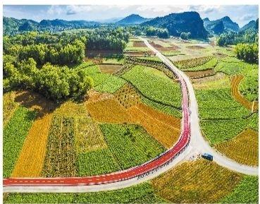 宜州区刘三姐镇马山塘村的自行车绿道,成为一道风景线。 韦克文/摄