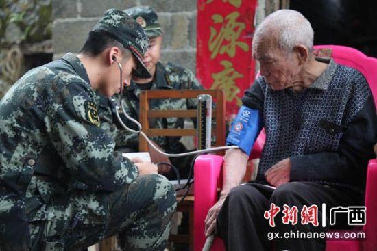 图为官兵们帮助老兵麻作林测量血压。杨瑞 摄