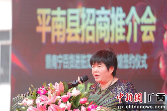 平南县人大副主任吴燕华讲话。