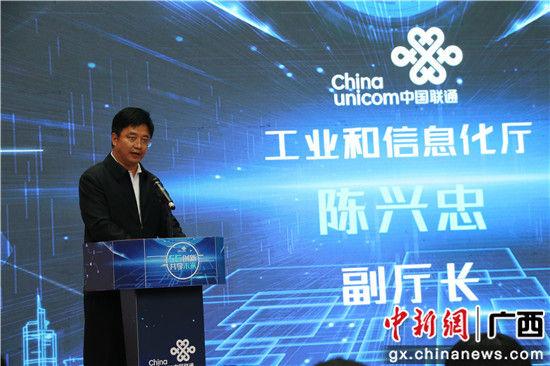图为广西工业和信息化厅副厅长陈兴忠讲话。