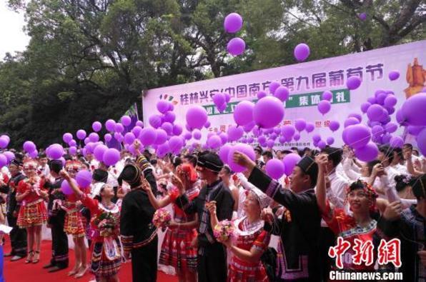 桂林兴安举办葡萄节 百对新人共赴葡萄之约集体婚礼