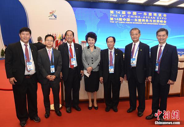 裘援平在第十四届中国-东盟博览会与侨商合影