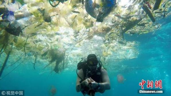 """男子巴厘岛水下拍摄 """"人间天堂""""尽是塑料垃圾(图)"""