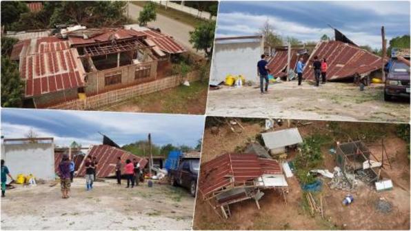 泰国坤敬府遭冰雹风暴袭击 致100多栋民房受损