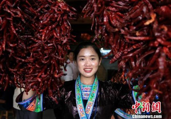 广西苗山群众举行辣椒选美庆丰收