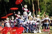 广西柳州摆擂赛芦笙 近千人同台比拼