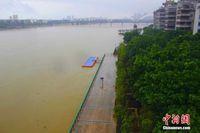 广西柳州遭遇强降雨 河流出现明显涨水