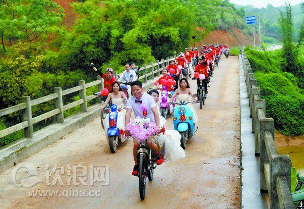 """浦北农村首现""""单车婚礼"""" - 钦州新闻 - 中新网广西"""