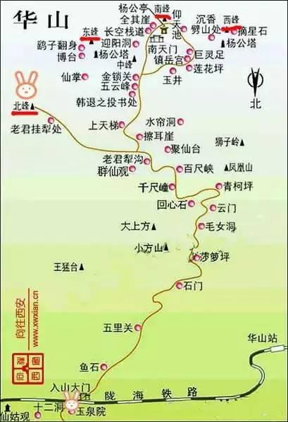 华山风景区路线图
