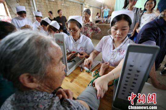 桂林医学院护理学院的准护士学生们免费为村民测量血压。 裴蕾 摄